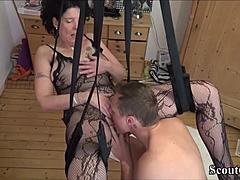 German Step-Son Fuck Mother with stockings in take pleasure in Swing maturepornvideos